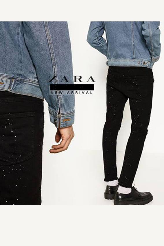 Quần jean nam đen rách vẩy sơn. - slide 1