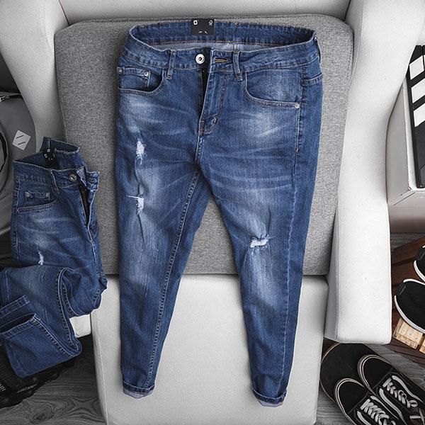 Quần jean dài nam rách R603 - slide 1