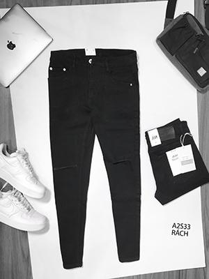Quần jean nam đen trơn a2s33